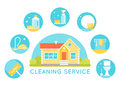 House Surrounded by Cleaning Services Images. Household Cleaning Agents and Tools Round Icons.