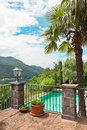 House with swimming pool balcony outdoor view from the Stock Photos