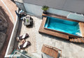 House swimming pool view moden outdoor Stock Photos