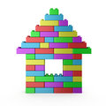 House symbol build with colorful plastic blocks isolated on white Stock Image