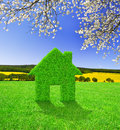 House symbol green grass on meadow Stock Photo