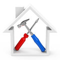 The house tools d generated picture of inside a frame Royalty Free Stock Images