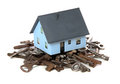 House on top of old rusty keys Royalty Free Stock Images