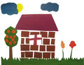 House and the tree of the children s work Royalty Free Stock Image