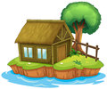 A house and tree on island illustration of an Stock Photo