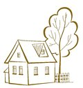 House with a tree pictogram cartoon landscape country monochrome symbolical Royalty Free Stock Images