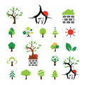 House and tree symbol set Royalty Free Stock Photo
