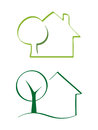House and tree vector icons Royalty Free Stock Images