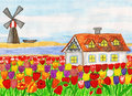 House with tulips (House in Holland), painting Royalty Free Stock Photos