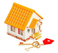 House and two gold keys Royalty Free Stock Image