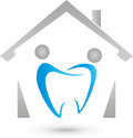House and two persons as tooth, dentist and family dentist logo