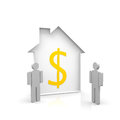 House and two persons an dollar symbol Royalty Free Stock Images