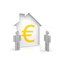 House and two persons an euro symbol Royalty Free Stock Photography