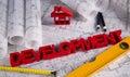 House under construction, blueprints concept Royalty Free Stock Photo