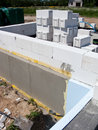 House under construction a with walls made from cement block elements Stock Image