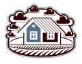 House vector detailed illustration, village idea. Graphic Royalty Free Stock Photo