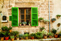 House in village valldemossa in mallorca spain vintage photo of traditional mediterranean Stock Images