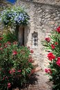 House wall with Flowers in france Royalty Free Stock Photo
