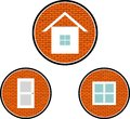 House window and door icons of on the brick wall background Stock Photography