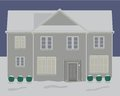 House winter christmas lights contemporary story at night in with snow and detailed vector available Stock Photography