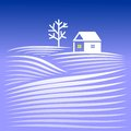House in winter evening rural landscape with snow covered hills and home Royalty Free Stock Image