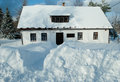House in the winter and snow Royalty Free Stock Photo