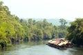 Houseboat float raft downstream at the river kwai kanchanaburi thailand Royalty Free Stock Photography
