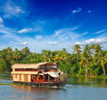 Houseboat on Kerala backwaters, India Royalty Free Stock Photo