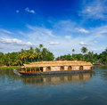 Houseboat on kerala backwaters india Royalty Free Stock Photos