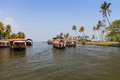 Houseboats cruise on the lakes of kerala south india Royalty Free Stock Photo