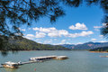 Houseboats at pier on Shasta Lake framed by pines Royalty Free Stock Photo