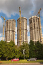 Housebuilding panoramic vew. New towers Royalty Free Stock Photo