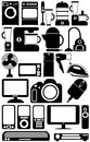 Household appliances the black and white icons Stock Photo