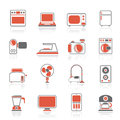 Household appliances and electronics icons vector icon set Royalty Free Stock Image