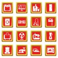 Household appliances icons set red