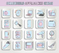 Household appliances set of on stamps Stock Images