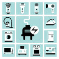 Household appliances set of vector electric icons Stock Image