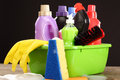 Household chemicals chemical goods for cleaning on black Royalty Free Stock Photography
