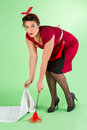 Household chores for pin up girl funny pinup doing Stock Images