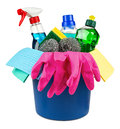 Household cleaners in bucket Royalty Free Stock Photo