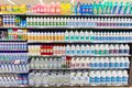Household cleaning detergents, ammonia, bleach, alcohol. Full shelves in new store. Royalty Free Stock Photo