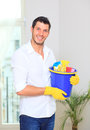 Household cleaning man Royalty Free Stock Photo