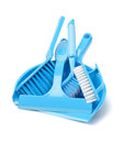 Household cleaning tools on white background Stock Photo