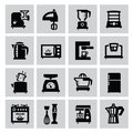 Household icon vector black set on gray Stock Image
