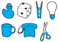 Household icons in blue Royalty Free Stock Images