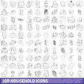 100 household icons set, outline style