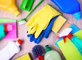 Household items,cleaning supplies upper view. Royalty Free Stock Photo