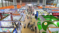 Household items pavilions at canton fair china visitors the located hall of Stock Images