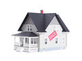 Household model with sale sign, isolated Royalty Free Stock Photos