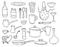Household objects and dishes set Stock Image